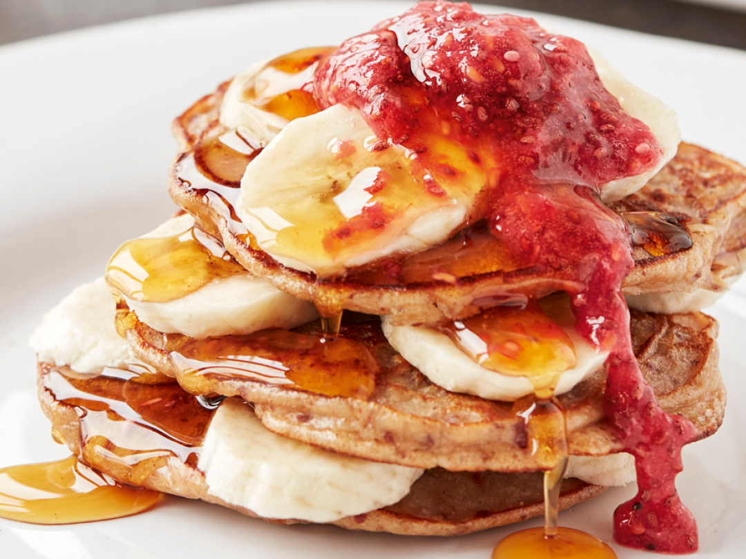 Peanut butter and raspberry jam pancakes
