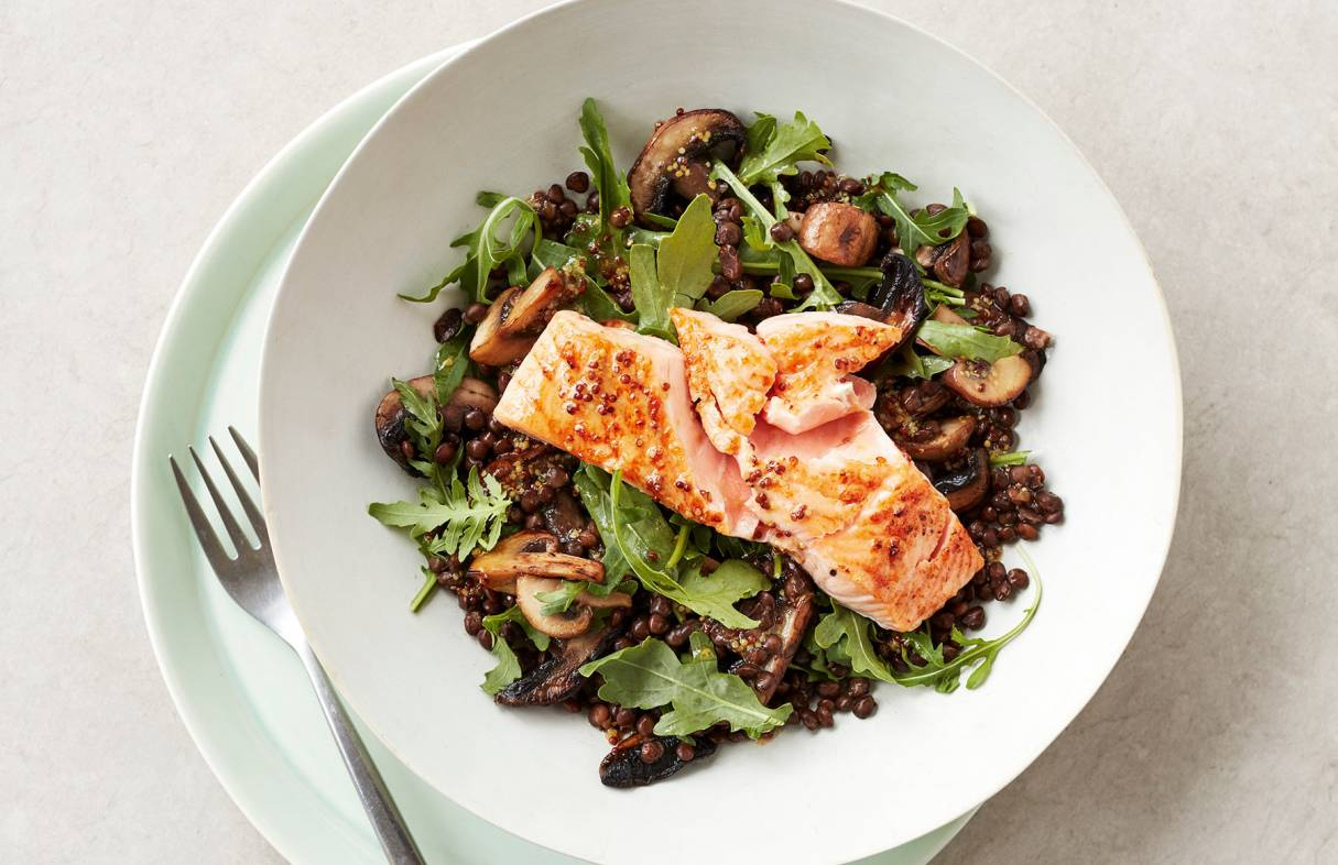 GRILLED SALMON WITH GARLIC MUSHROOM AND LENTIL SALAD Copy