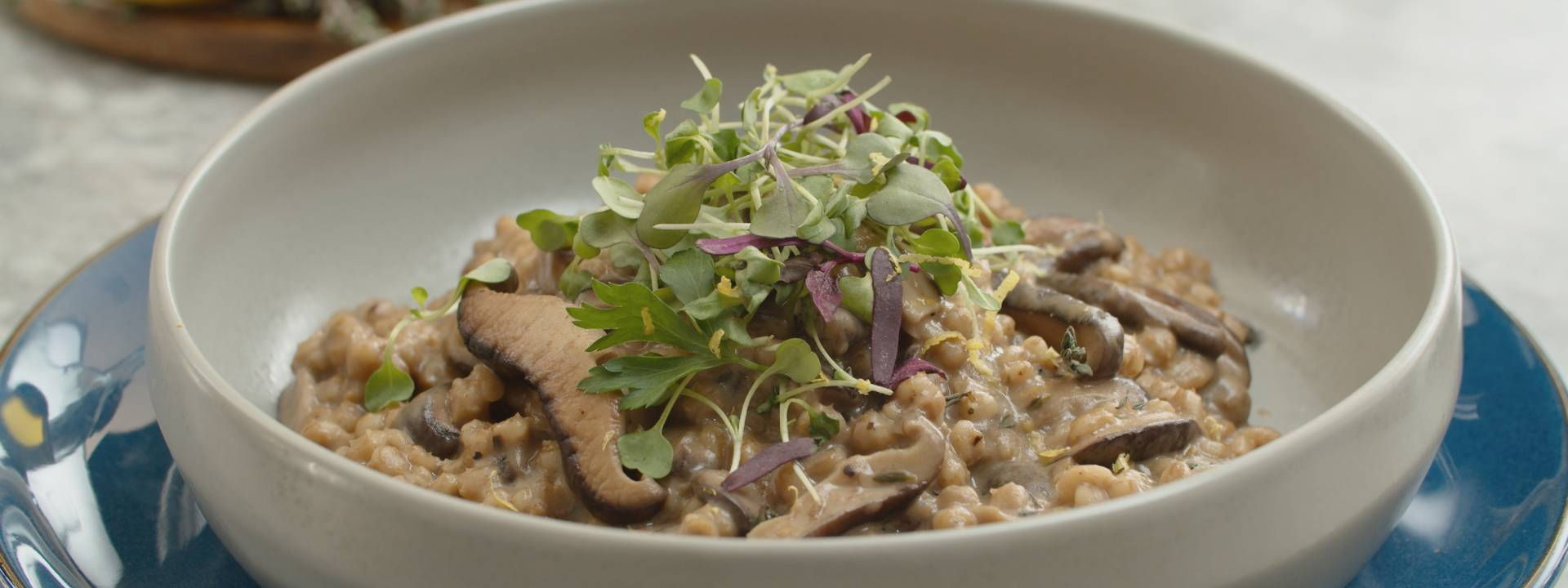 Mushroom Barley Risotto With Truffle Cheese Herb And Microgreen Salad Gordon Ramsay Com